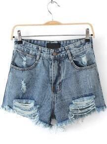 Blue Ripped Pockets Denim Shorts