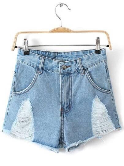 Blue Ripped Pockets Fringe Denim Shorts