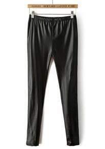 Black Elastic Waist Slim PU Leggings