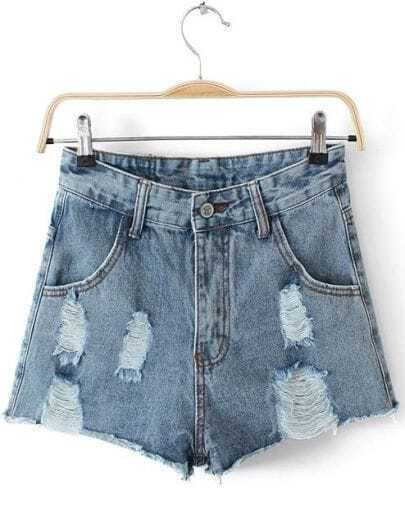 Blue Ripped Pockets Straight Denim Shorts