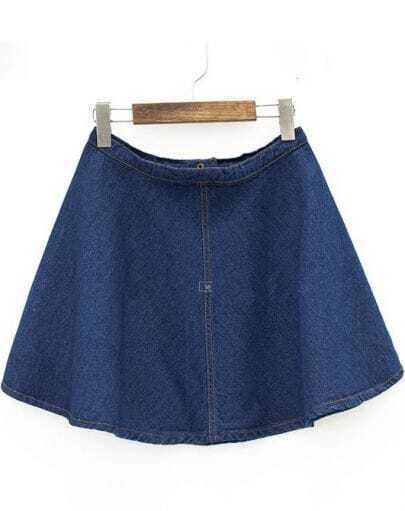 Blue Flare A Line Denim Skirt