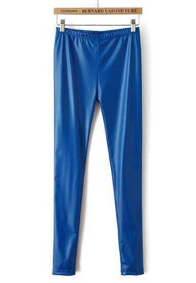 Blue Elastic Waist Slim PU Leggings