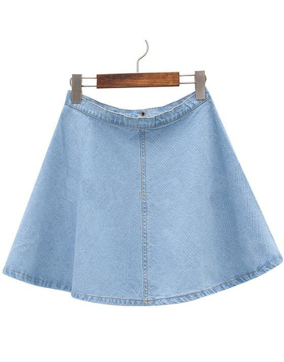 Light Blue Flare A Line Denim Skirt -SheIn(Sheinside)