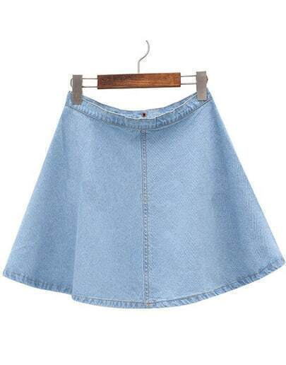 Light Blue Flare A Line Denim Skirt