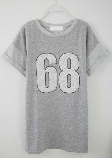 Grey Short Sleeve 68 Print Loose T-Shirt
