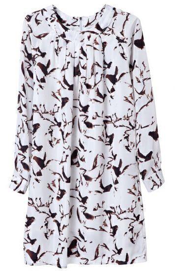 White Long Sleeve Horse Print Chiffon Dress