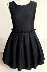 Black Sleeveless Sweetheart Pattern Flare Dress
