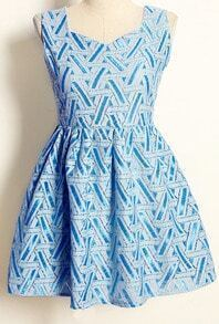 Blue Sleeveless Geometric Print Pleated Dress