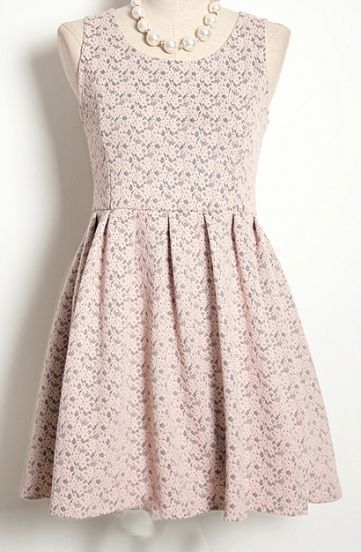 Pink Sleeveless Floral Lace Embroidery Pleated Dress