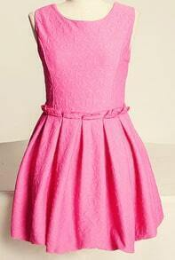 Pink Sleeveless Sweetheart Pattern Flare Dress