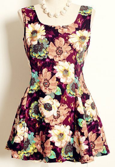 Purple Sleeveless Floral Print Pleated Dress
