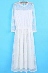 White Long Sleeve Sheer Pleated Lace Dress