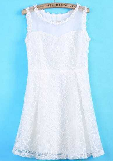 White Sleeveless Contrast Organza Lace Dress