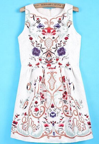 White Sleeveless Embroidered Tribal Floral Dress