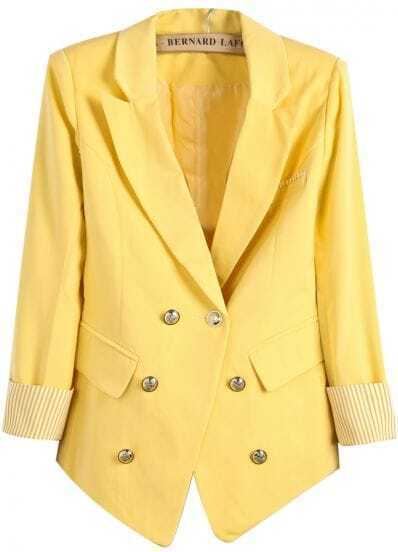 Yellow Notch Lapel Contrast Striped Cuff Blazer