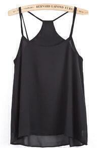 Black Spaghetti Strap Double Layer Chiffon Vest