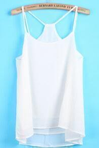 White Spaghetti Strap Double Layer Chiffon Vest