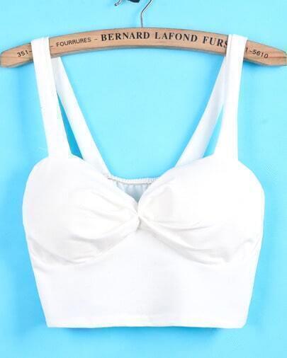White Crop Spaghetti Strap Vest