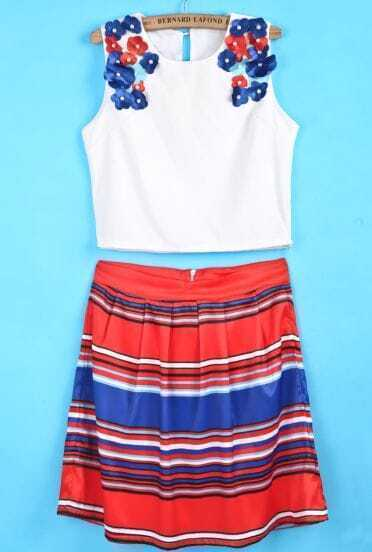 White Flower Embellished Top With Blue Red Striped Skirt
