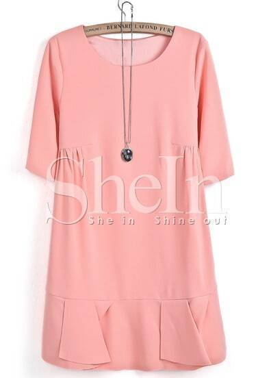 Pink Short Sleeve Ruffle Loose Dress