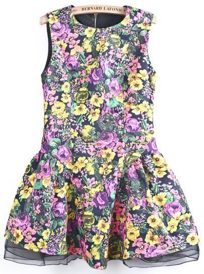 Pink Sleeveless Contrast Mesh Yoke Floral Dress