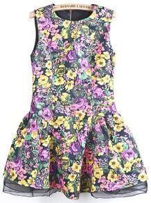 Pink Sleeveless Contrast Mesh Yoke Floral Dress