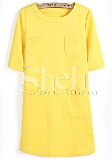 Yellow Short Sleeve Pockets Straight Dress