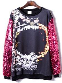 Rose Red Sequined Long Sleeve Print Sweatshirt
