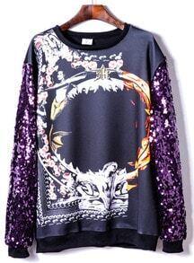 Purple Sequined Long Sleeve Print Sweatshirt