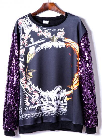 Purple Sequined Long Sleeve Print Sweatshirt