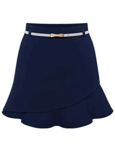 Navy Asymmetrical Ruffle Bodycon Skirt