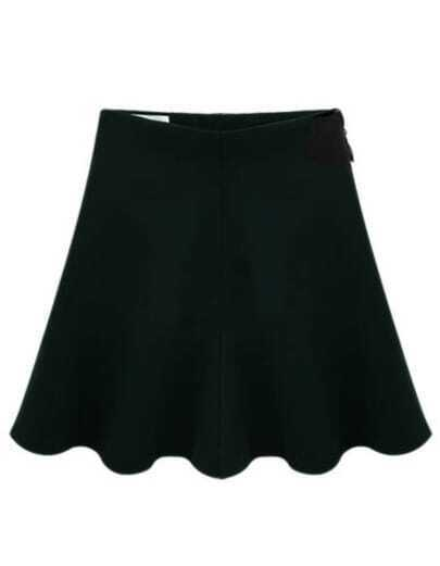 Black Casual Zipper Pleated Skirt