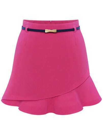 Pink Asymmetrical Ruffle Bodycon Skirt