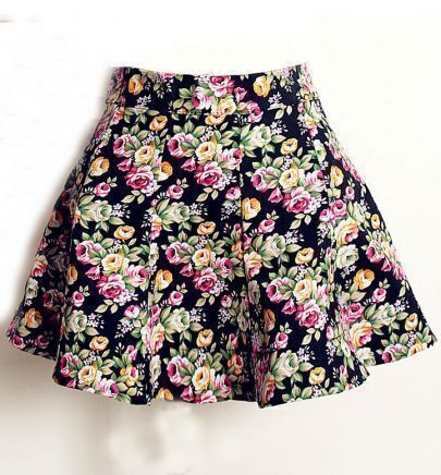 Black Floral Print Pleated Skirt