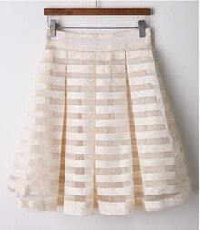 White Beige Striped Organza Pleated Skirt