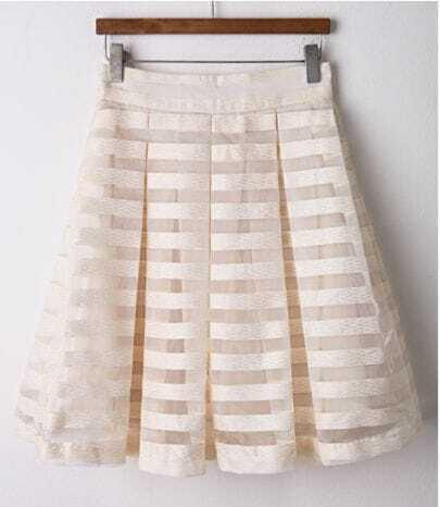 White Beige Striped Organza Pleated Skirt