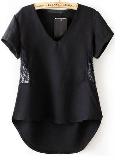 Black V Neck Contrast Lace Dipped Hem Blouse