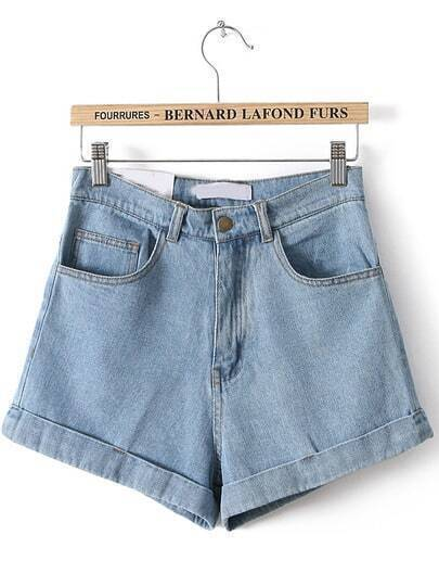 Blue High Waist Vintage Denim Shorts