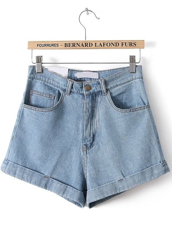 Blue High Waist Vintage Denim Shorts -SheIn(Sheinside)