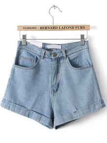 Blue High Waist Vintage Denim Shorts