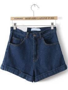 Navy High Waist Vintage Denim Shorts