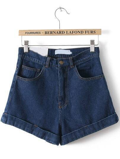 Navy High Waist Vintage Denim Shorts