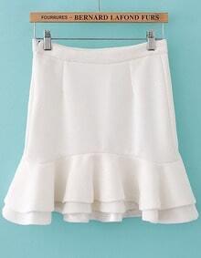 White High Waist Bodycon Ruffle Skirt