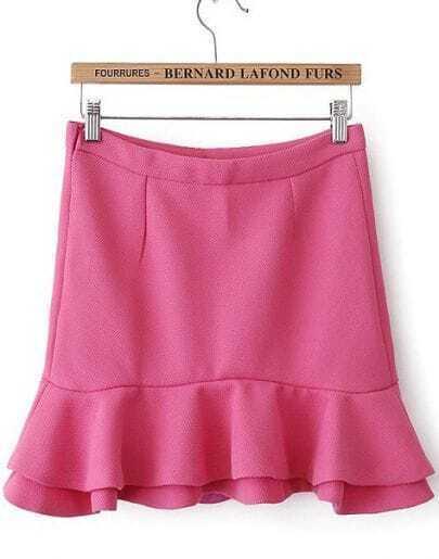 Rose Red High Waist Bodycon Ruffle Skirt