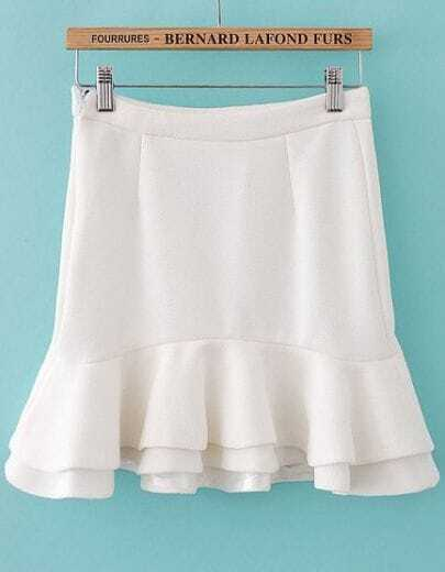 White High Waist Bodycon Ruffle Skirt