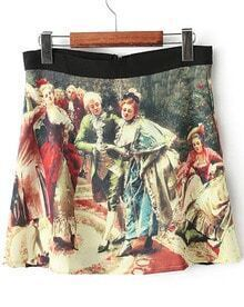 Yellow Vintage Oil Painting Skirt