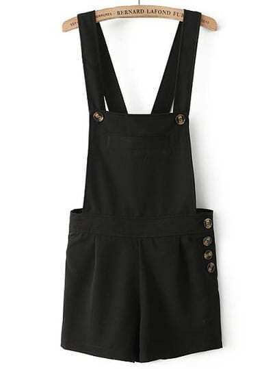 Black Strap Pocket Buttons Jumpsuits
