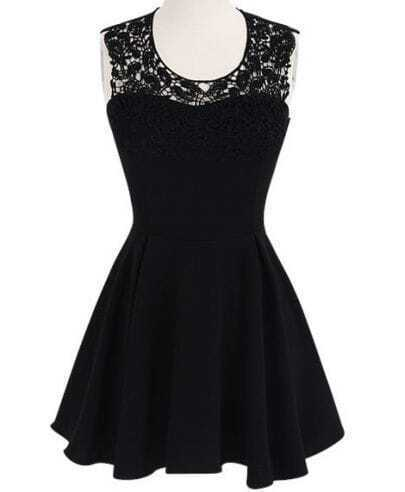 Black Contrast Lace Backless Ruffle Dress