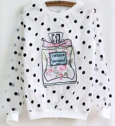 White Long Sleeve Perfume Bottle Polka Dot T-shirt