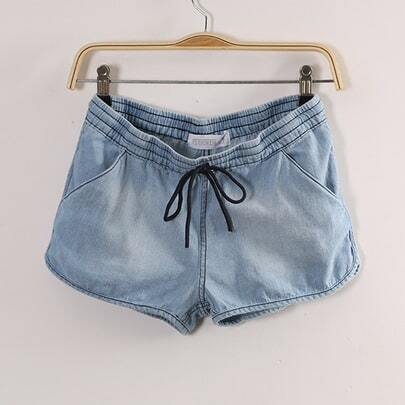 Blue Drawstring Denim Pant